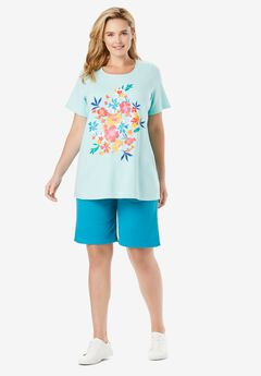 2-Piece Knit Tee and Short Set, LIGHT BLUE TROPICAL BOUQUET