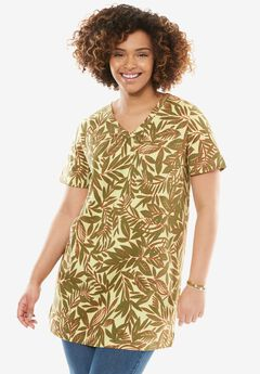 Printed Shirred V-Neck Perfect Tunic,