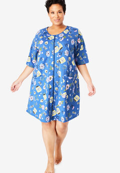 Short Sleeve French Terry Robe by Dreams & Co.®, TRUE BLUE GARDEN
