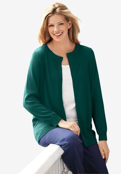 Perfect Long Sleeve Cardigan, EMERALD GREEN