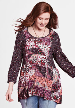 Mixed Print Babydoll Tunic by Chelsea Studio®, MAUVE WINE MULTI PAISLEY PATCHWORK