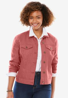 Cropped Stretch Denim Jacket, STRAWBERRY ROSE, hi-res