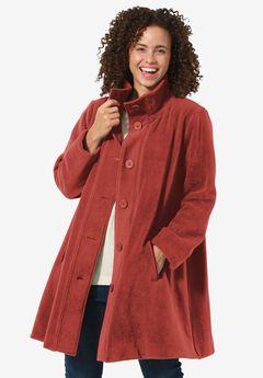 Cozy Fleece Swing Jacket, RED OCHRE, hi-res