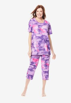 Graphic Tee Capri PJ Set by Dreams & Co.®, PLUM BURST TIE DYE