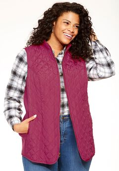 Diamond-Quilted Zip Front Vest, RUBY ROSE, hi-res