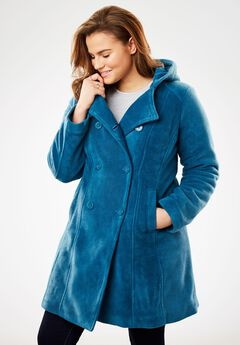 Double-Breasted Hooded Fleece Peacoat, BLUE TEAL