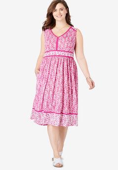 69563002b945d Mixed Print Midi Dress