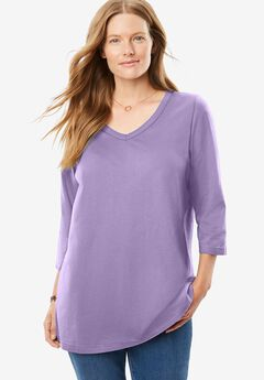 Perfect V-Neck Three-Quarter Sleeve Tee,