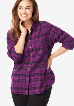 Classic Flannel Shirt, PLUM PURPLE PLAID