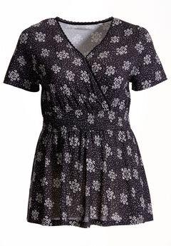 Short sleeve smocked surplice tunic by Chelsea Studio®, BLACK WALLPAPER, hi-res