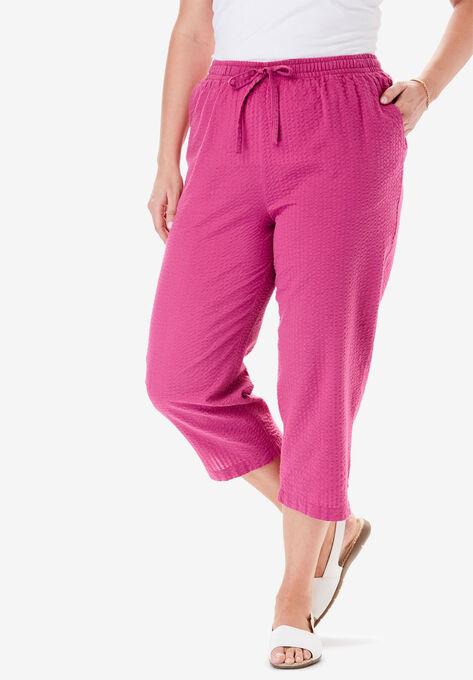 6769cec4c150da Seersucker Capri Pant| Plus Size Petite | Woman Within