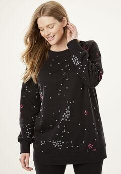 Fleece Sweatshirt, BLACK STARBURST