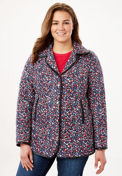 Light quilted snap-front jacket, NAVY MINI FLORAL