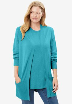 Perfect Cotton Open Front Cardigan,