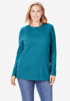 Thermal Sweatshirt, DEEP TEAL