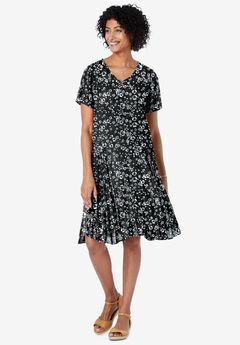 Short Crinkle Dress, BLACK FLORAL PRINT