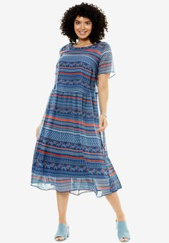 Print Georgette Dress, BLUE FLORAL STRIPE, hi-res