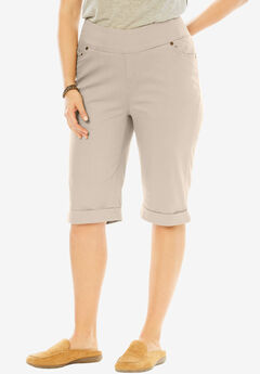 Smooth Waist Bermuda Jean Short, NATURAL KHAKI