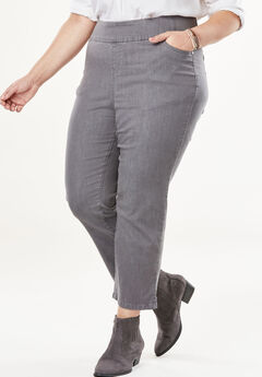 Smooth Waist Capri Jean, GREY DENIM