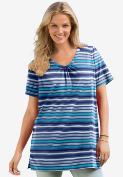 Perfect Printed Short-Sleeve Shirred V-Neck Tunic, ROYAL NAVY STRIPE