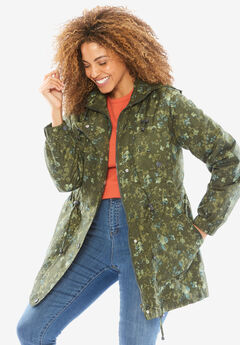 Weather-resistant Taslon® Anorak, HUNTER GREEN DRIED FLORAL, hi-res