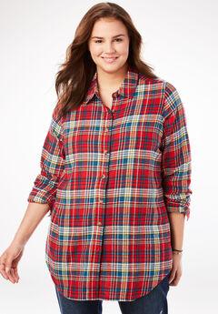 Classic Flannel Shirt, RED MULTI PLAID