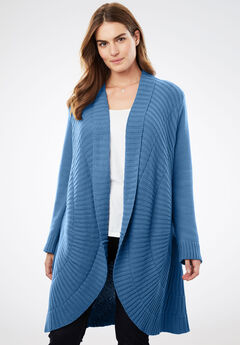 Open Front Pointelle Cardigan, DUSTY INDIGO