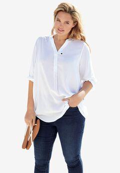 Three-Quarter Sleeve Tab-Front Tunic, WHITE