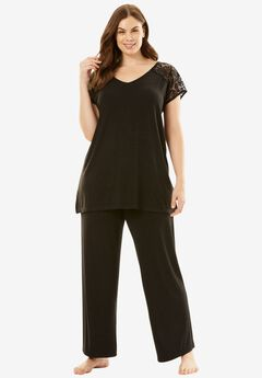 Lace-Trim Tee PJ Set with Wide Leg Pants by Amoureuse®,