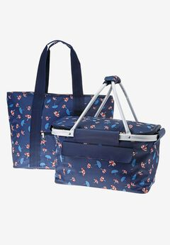 2PC Picnic Basket set, DARK NAVY PARASOLE PRINT, hi-res
