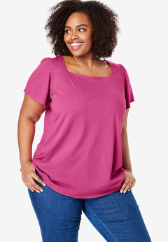 Square Neck Flutter Sleeve Tee,