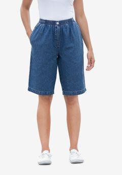 Womens E.P Denim Shorts Stone Wash Blue Plus Size 14 16 18 20 22 Ladies A11.5