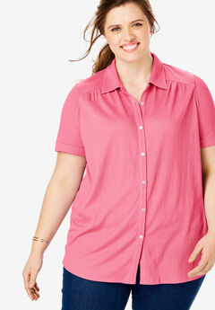 Gauze Button Down Tee, BRIGHT PINK
