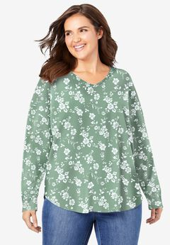 Washed Thermal V-Neck Tee, SAGE PEONY
