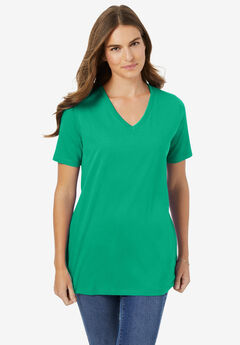 Perfect Short-Sleeve V-Neck Tee, TROPICAL EMERALD