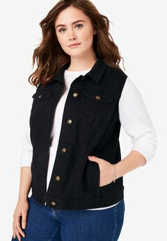Stretch Denim Vest, BLACK