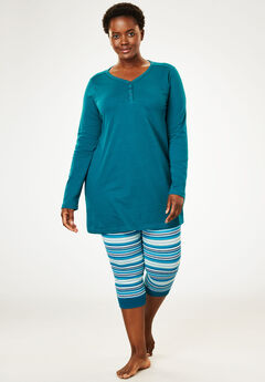 2-piece capri legging pj set by Dreams & Co.®, DEEP LAGOON, hi-res
