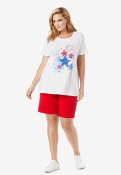 2-Piece Knit Tee and Short Set, VIVID RED AMERICANA STARS