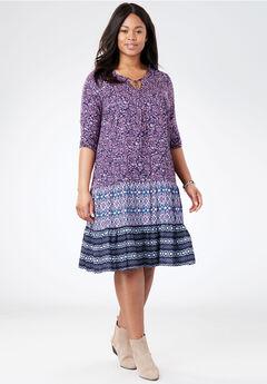 Mixed-Print Tiered Dress, NAVY FLORAL, hi-res