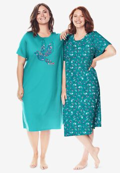 2-Pack Long Sleepshirts by Dreams & Co.®, WATERFALL PAISLEY FLORAL