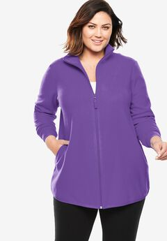 Zip-Front Microfleece Jacket, PLUM BURST