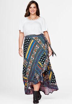 Ruffle Trim Wrap Skirt by Chelsea Studio®, BLACK MULTI PATCHWORK, hi-res
