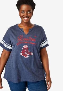 MLB Team Notch-Neck Tee, RED SOX