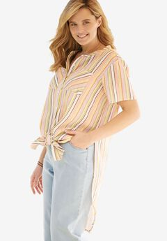 Long Tie-Front Shirt, SOFT PEACH STRIPE, hi-res