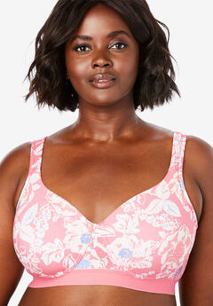 Bottom Band Cotton Wireless T-Shirt Bra by Comfort Choice®, SALMON ROSE FLORAL