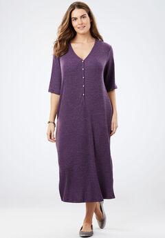 Rib Knit Buttoned T-Shirt Dress, MIDNIGHT PLUM HEATHER, hi-res