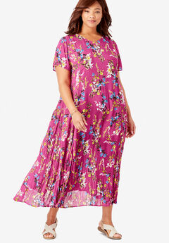 Crinkle Dress, BRIGHT BERRY FREE FLORAL