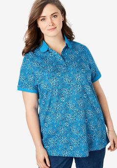 Perfect Printed Polo Shirt, VIBRANT BLUE SPRAY FLORAL