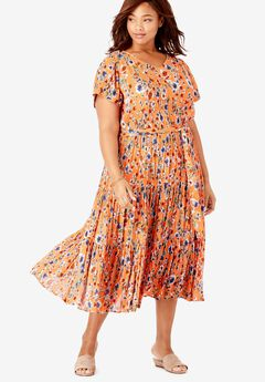 Tiered Floral Crinkle Dress,