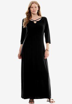 Crossover Maxi Dress, BLACK, hi-res